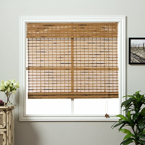 1 Piece 71''Wx74''L Brown Grain Ochre Tan Natural Wood Pull Up Bamboo Blind Home Decor Rustic Roman Shade Horizontal Slat Elegant Beautiful Perfect Fit Nature Window Treatment Allows Gentle Sunlight by PH (Image #1)