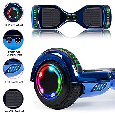 TST Adorable Hoverboard Certified Two-Wheel Self Balancing Electric Scooter 2020 Cool Toys for Adults and Kids (Chrome Blue): Sports & Outdoors