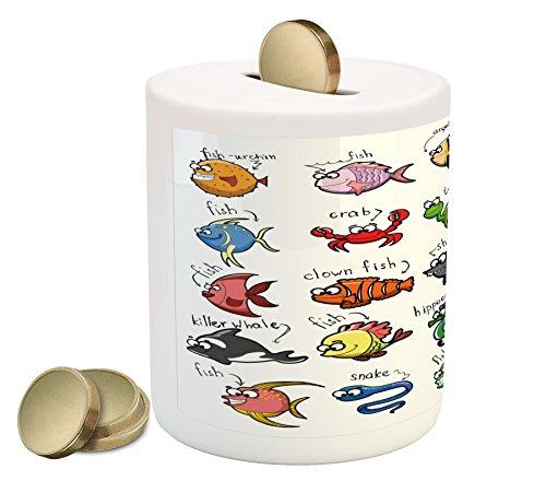 Kids Piggy Bank by Lunarable, Aquarium Cartoon Octopus Dolphin Shark Whale Clown Fish Jellyfish Hermit Crab Marine, Printed Ceramic Coin Bank Money Box for Cash Saving, (Clown Fish Aquarium)