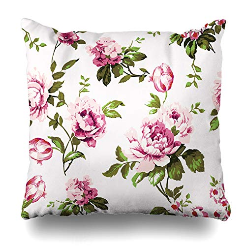 Ahawoso Throw Pillow Cover Square 16x16 Inches Watercolor Chintz Shabby Chic Vintage Roses Tulips Leaf Forgetmenots Flower Pattern Spring Abstract Cushion Case Home Decor Pillowcase ()