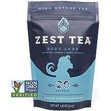 Blue Lady Black Energy Tea - High Caffeine Blend (3X Regular) - Healthy Coffee Substitute, Citrus and Hibiscus Flavor, 20 Sachet Package (50 Grams)