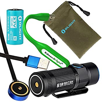 Olight S1R Turbo S Baton USB rechargeable 900 Lumens CREE LED Flashlight EDC with RCR123 Li-ion battery , magnetic charging cable with EdisonBright USB powered reading light bundle
