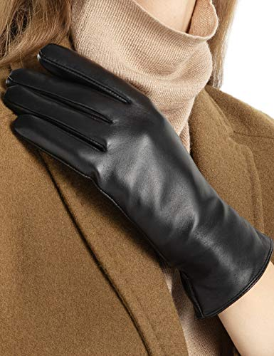 - Super-soft Leather Winter Gloves for Women Full-Hand Touchscreen Warm 100% Cashmere Lined Perfect Appearance