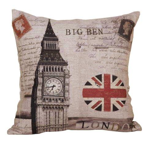 18 X 18 Inch Vintage Cotton Linen Decorative Throw Pillow Cover Cushion Case (London Big Ben)