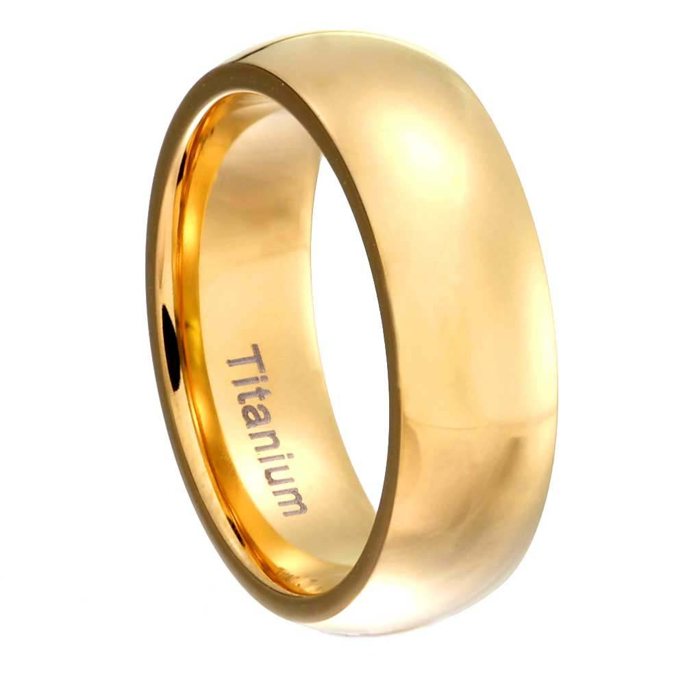 FlameReflection 6mm Titanium Ring Wedding Band Gold Plated High Polish Classic Domed Top Size 5-13 SPJ