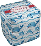 RNK Shops Dolphins Cube Pouf Ottoman - 13'' (Personalized)