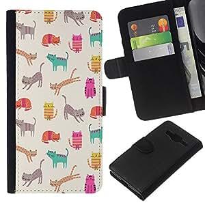 KLONGSHOP // Tirón de la caja Cartera de cuero con ranuras para tarjetas - Gatitos Gatos trullo Historieta rosada del Patrón - Samsung Galaxy Core Prime //