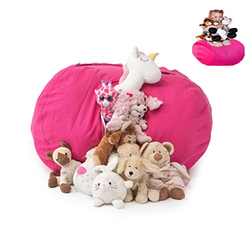 - T-Bugs Best Stuffed Animal Storage Bean Bag Chair, Premium Cotton Canvas Toy Organizer for Kids Bedroom, Perfect Storage Solution for Plush Toys, Blankets, Towels & Clothes (27