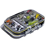 Outdoor Planet Double Side Waterproof Pocketed Fly Box + Assorted Trout Fly Fishing Lure Pack of 10/ 12/ 15/ 28/ 35 Pieces Fly Lure