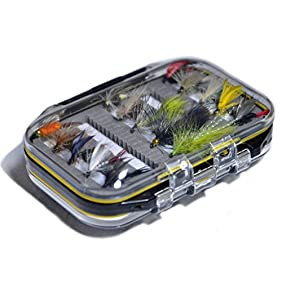 Outdoor Planet Double Side Waterproof Pocketed Fly Box + Assorted Trout Fly Fishing Lure Pack of 15 Fly Lure