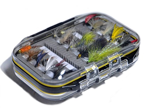 (Outdoor Planet Double Side Waterproof Pocketed Fly Box + Assorted Trout Fly Fishing Lure Pack of 15 Fly Lure)