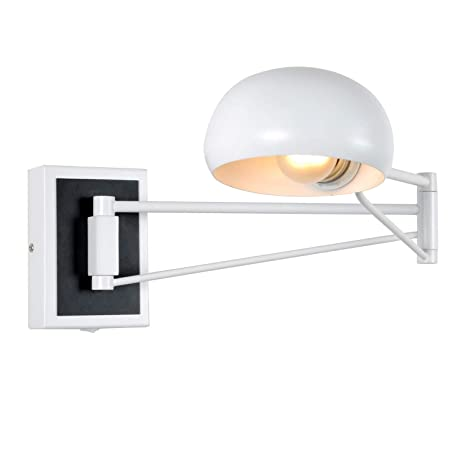White Modern Wall Sconce Plug In Adjustable Arm Metal Wall Lamp Enchanting Bedroom Swing Arm Wall Sconces