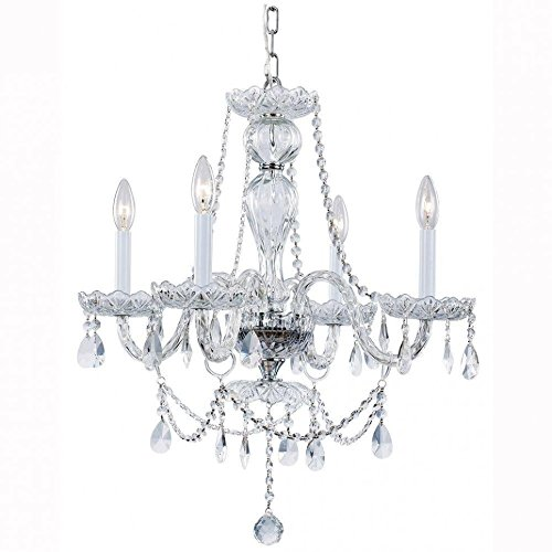 Hampton Bay Lake Point 4-Light Chrome and Clear Crystal Chandelier Arm White Flower Crystal Chandelier