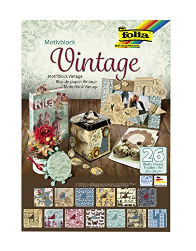 Folia 47549 - Motivblock Vintage, 24 x 34 cm, 26 Blatt