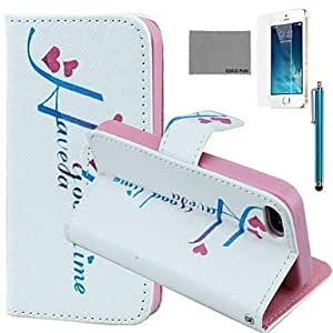 QJM Love Time Pattern PU Leather Case with Screen Protector and Stylus for iPhone 5/5S