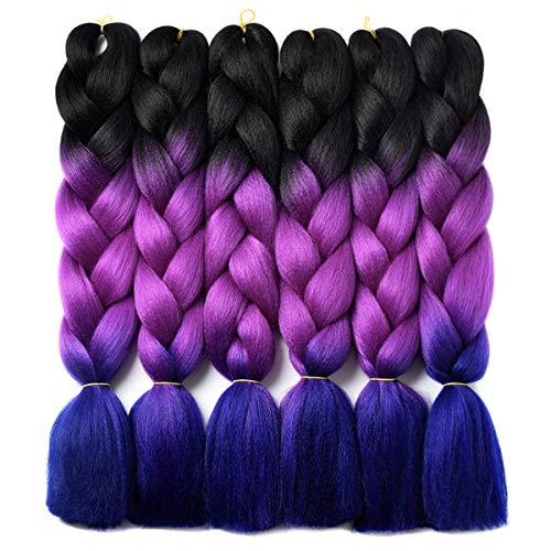 Ombre Braiding Hair Kanekalon Braiding Hair Synthetic Hair Extensions for Braiding Crochet Twist Box Braids 24 Inch 3 Tone Black to Purple to Royal Blue 6 Packs Jumbo Braiding Hair
