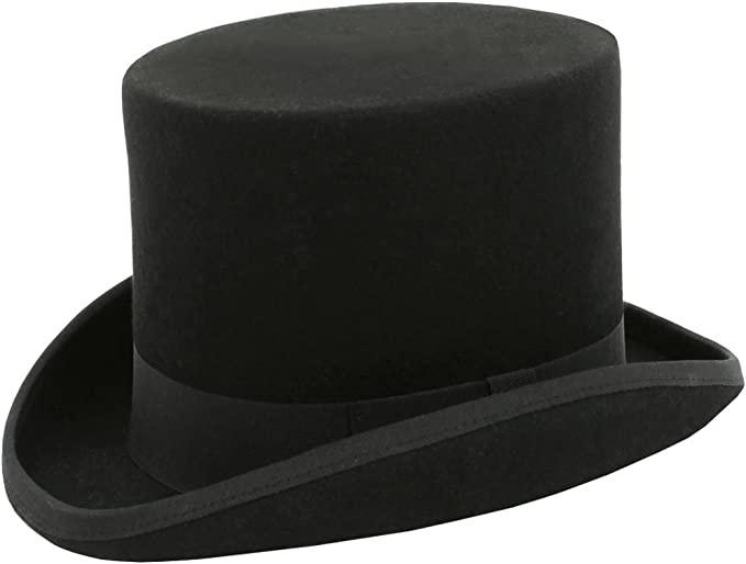 New Edwardian Style Men's Hats 1900-1920 Dobell Mens Black Top Hat 100% Wool Formal Wedding Races £39.99 AT vintagedancer.com