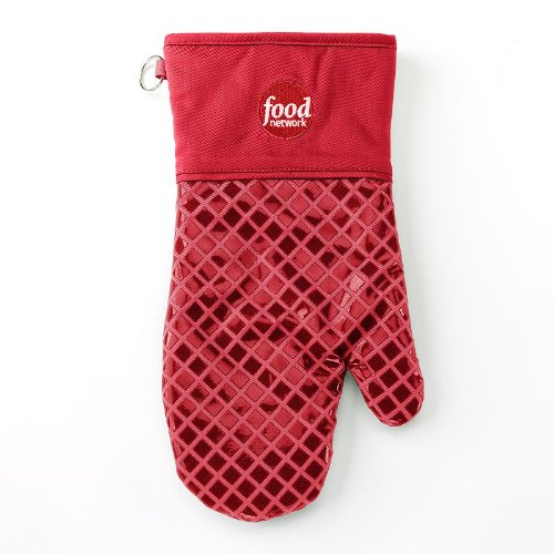 Food Network Oven Mitt Cotton with Silicon Squares, Red