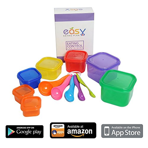 21 Day Fix Containers by Easy Eating Plan 7 Portion Control Containers with Measuring Spoons and FREE Mobile App Guide.