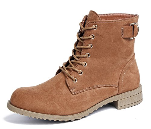 Suede Brown Shoes Wedge Women's Heel Lace AgeeMi up Buckle Casual Winter Boots wXFqwpB