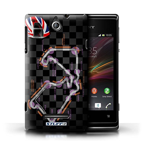 Kobalt® Imprimé Etui / Coque pour Sony Xperia E / UK/Silverstone conception / Série 2014 F1 Piste