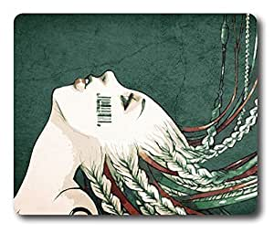 Blonde with barcode tattoo on cheek Easter Thanksgiving Personlized Masterpiece Limited Design Oblong Mouse Pad by Cases & Mousepads