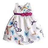 MingAo Little Girls Embroidery Butterfly Sleeveless Dresses 1-7 Years