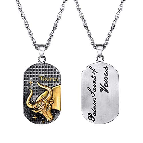 - Unlimit-X Dog Necklace - Taurus Pendant Necklace Stainless Steel Constellation Gift Patron Saint Marc Necklace Cameo Dog Tag Zodiac Sign for Men P2922
