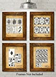 Original Playing Cards Patent Prints - Set of Four Photos (8x10) Unframed - Great Decor for Mancaves and Poker Players