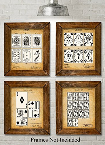 Original Playing Cards Patent Prints - Set of Four Photos (8x10) Unframed - Great Decor for Mancaves and Poker Players - Antique Print Card