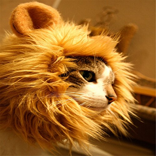 [UNKE Lion Dog Cat Costume Pet Costume Lion Mane Wig For Cat Dog Christmas Clothes Fancy Dress up with] (Make Lion Costume For Dogs)