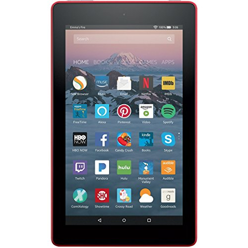 Fire 7 Tablet with Alexa, 7'' Display, 8 GB, Punch Red - with Special Offers by Amazon