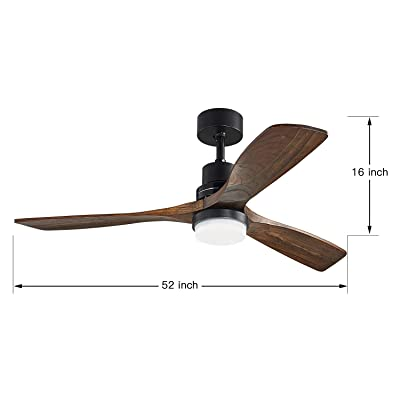 Buy Lampsmore 52 Inch Ceiling Fan With Lights Black Ceiling Fan Light Kit For Bedroom Modern Ceiling Fan With Remote Rustic Farmhouse Ceiling Fan With 3 Solid Wood Blades Online In Germany B0836ds9dg