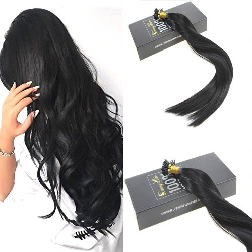 Stick/i Tip (Sunny Silky Straight Remy I Tip Stick Human Hair Extensions with Salon Style 20Inch 1g/strand 50 Strands Jet Black #1)