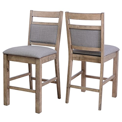 Trica Kitchen Chair (Melville Gray Fabric and Solid Wood Counter Stools with Backs (Set of)