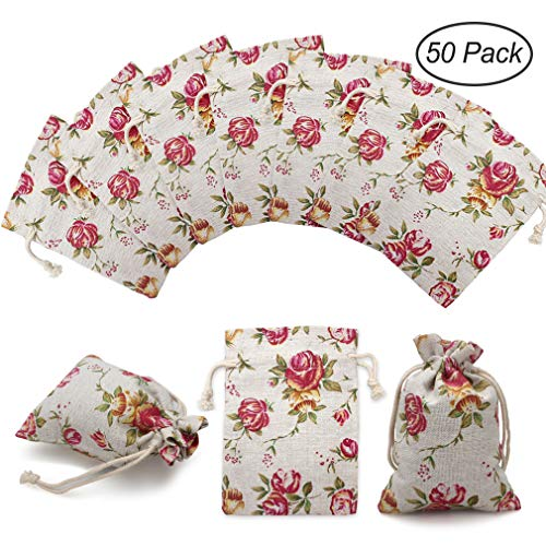 - 50 Pack Rose Double Drawstring Burlap Bags Gift Reusable Linen Bags Jewelry Pouches Sacks for Wedding Party Gift3.7