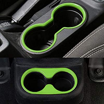 E-cowlboy Inner Front and Rear Water Cup Holder Trim,Gear Box Trim and Transfer Case Trim 4 Pcs for Jeep Wrangler JK & Unlimited 2/4 Door 2011-2020 (Green): Automotive