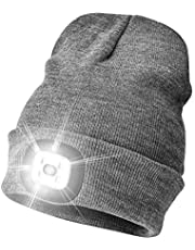 Etsfmoa Unisex LED Beanie Hat with Light, Gifts for dad,Gadgets Gift for Men Him Father USB Rechargeable Winter Knit Lighted Headlight Hats Headlamp Torch Skull Cap