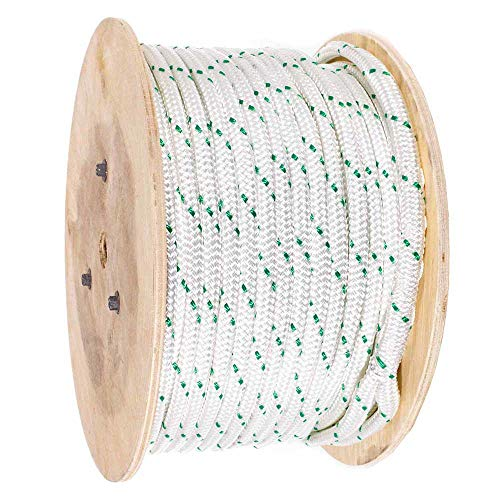 Pulling Rope (7/16 Inch) - GOLBERG - Double Braided Polyester Rope with Eye Loop - White with Green Tracer - Resistant to UV, Chemicals, Moisture - Commercial, Ranch, Marine, Winching (300 Ft)