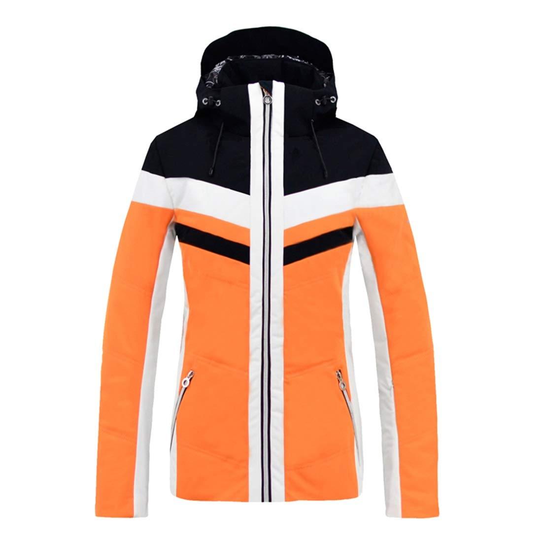 Jhcpca 女性のスキージャケットスノーボード防水防風スノージャケット オレンジ M