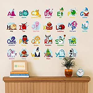 Wall Stickers for Bedroom,Children's Room Bedroom Baby Puzzle Early Education Stickers Chinese Pinyin Alphabet Stickers Kindergarten Wall Stickers