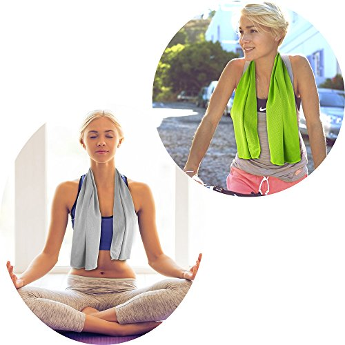 Xsby Pack of 2 Cooling Towel for Sports, Workout, Fitness, Gym, Yoga, Pilates, Travel, Camping and More
