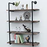 wood and cast iron shelf - Industrial Pipe Shelves with Wood 4-Tiers,Rustic Wall Mount Shelf 36.2in,Metal Hung Bracket Bookshelf,DIY Storage Shelving Floating Shelves