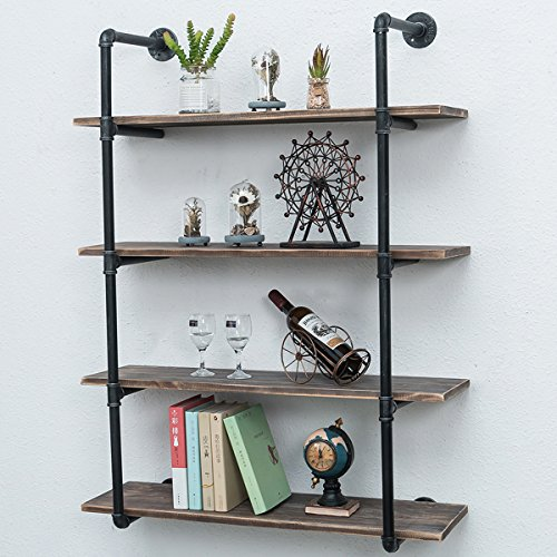 Industrial Pipe Shelves with Wood 4-Tiers,Rustic Wall Mount Shelf 36.2in,Metal Hung Bracket Bookshelf,Diy Storage Shelving Floating Shelves