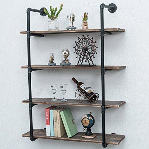 Industrial Pipe Shelves with Wood 4-Tiers,Rustic Wall Mount Shelf 36.2in,Metal Hung Bracket Bookshelf,Diy Storage Shelving Floating Shelves