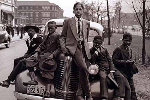 Buyartforless Sunday Best - Chicago Boys Easter Sunday 1941 by Russell Lee 36x24 Photographic Art Print Poster Black Urban Youth on Car Southside
