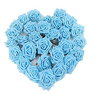 Kaimao 50pcs Artificial Rose Flowers DIY Fake Flower Bouquets for Wedding Centerpieces Party Baby Shower Garden Decorations 52