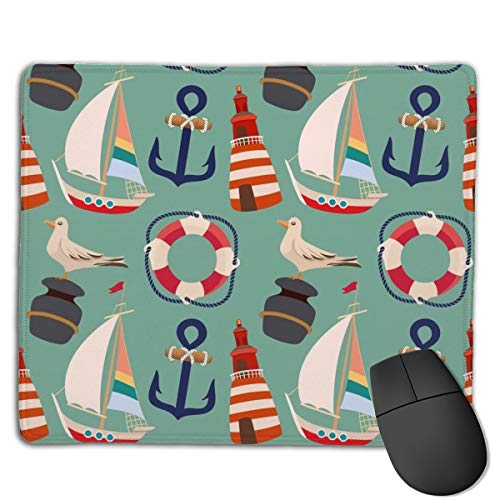 Cartoon Boat Anchor Sailing Pigeon Mouse Pad Mousepad Non-Slip Rubber Base Gaming Mouse Mat Rectangle Mouse Pads for Computers Laptop PC Keyboard
