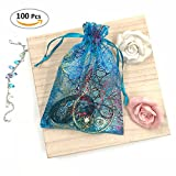 Cloudyfocus 5 x 7 inches Tulle Bags - 100Pcs, [Coralline Pattern] Sheer Organza Bags for Baby Shower Wedding Party Favor, Gift, Jewelry, Candy, Drawstring Organza Pouches
