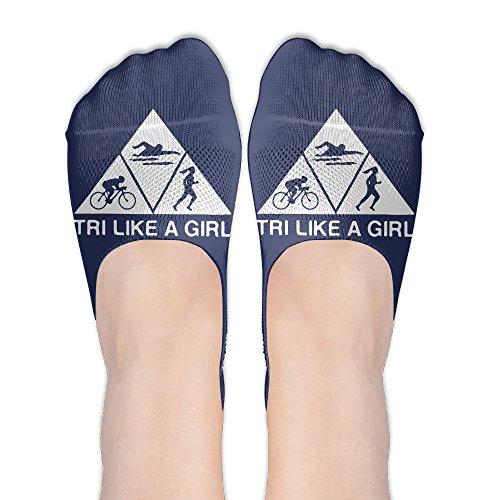 Triathlon Like A Girl Women No-Show Casual Liner Socks Low Cut Ankle Socks Boat (Triathlon Low Cut)